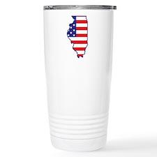 IL USA Flag Map 1 Travel Mug