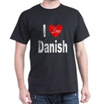 I Love Danish (Front) Black T-Shirt