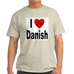 I Love Danish (Front) Ash Grey T-Shirt