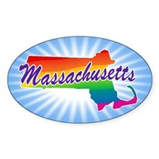 Gay Pride Rainbow Massachusetts Decal