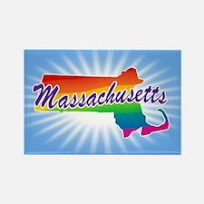 Gay Pride Rainbow Massachusetts Rectangle Magnet