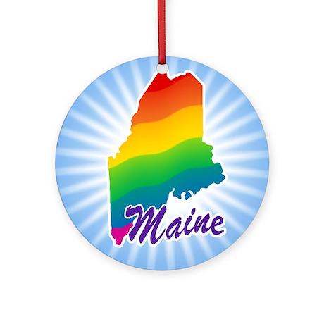Gay Pride Rainbow Maine Ornament (Round)