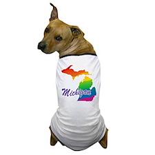 Gay Pride Rainbow Michigan Dog T-Shirt