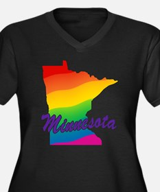 Gay Pride Rainbow Minnesota Women's Plus Size V-Ne