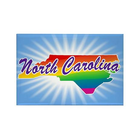 Gay Pride Rainbow North Carolina Rectangle Magnet