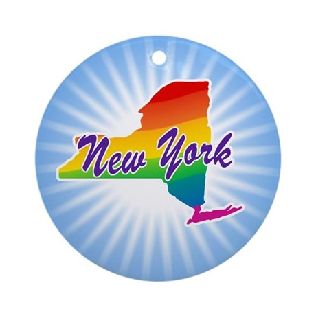 Gay Pride Rainbow New York Ornament (Round)
