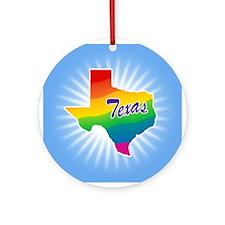 Gay Pride Rainbow Texas Ornament (Round)