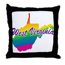 Gay Pride Rainbow West Virginia Throw Pillow