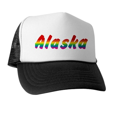 Rainbow Alaska Text Trucker Hat