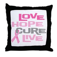 Love Hope Cure Live Throw Pillow