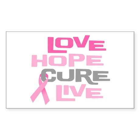 Love Hope Cure Live Sticker (Rectangle)