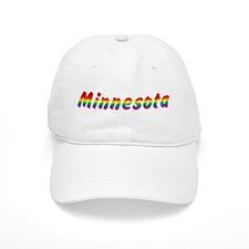 Rainbow Minnesota Text Baseball Cap