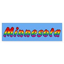 Rainbow Minnesota Text Bumper Sticker