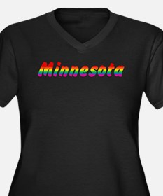 Rainbow Minnesota Text Women's Plus Size V-Neck Da