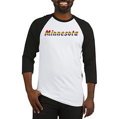 Rainbow Minnesota Text Baseball Jersey