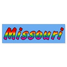 Rainbow Missouri Text Bumper Sticker
