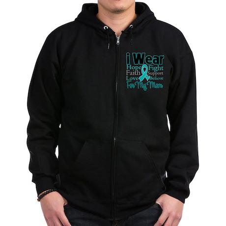 Mom - Ovarian Cancer Zip Hoodie (dark)