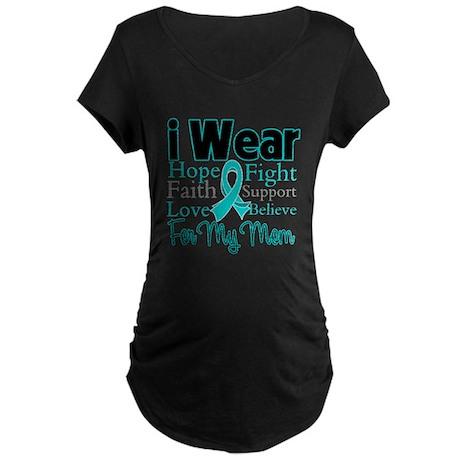 Mom - Ovarian Cancer Maternity Dark T-Shirt
