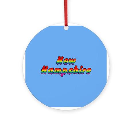 Rainbow New Hampshire Text Ornament (Round)