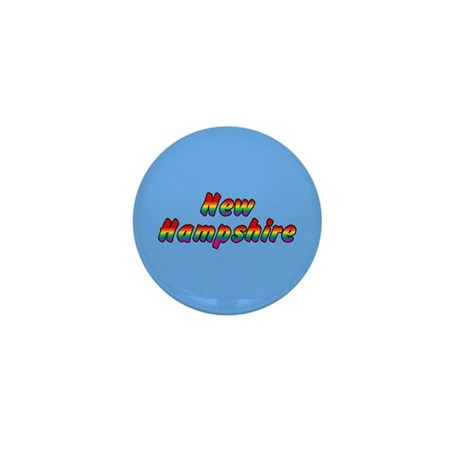 Rainbow New Hampshire Text Mini Button (10 pack)