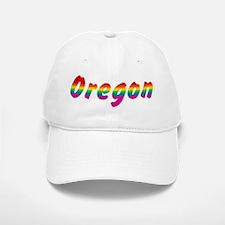 Rainbow Oregon Text Baseball Baseball Cap