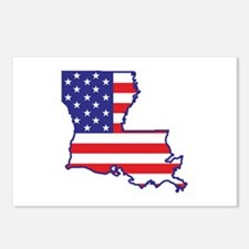 LA USA Flag Map 1 Postcards (Package of 8)