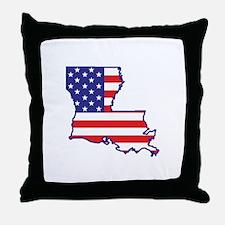 LA USA Flag Map 1 Throw Pillow