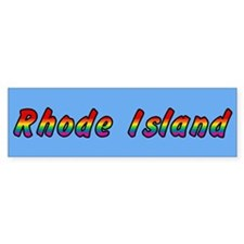 Rainbow Rhode Island Text Bumper Sticker