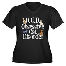 Obsessive Cat Disorder Women's Plus Size V-Neck Da