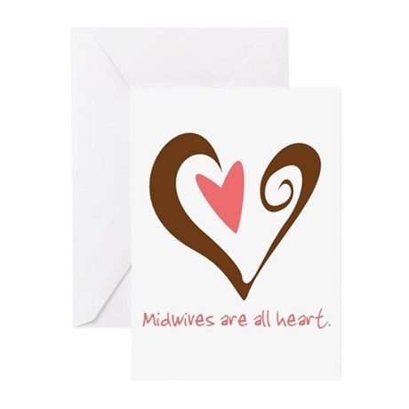 Midwives All Heart - Brown Greeting Cards (Pk of 1