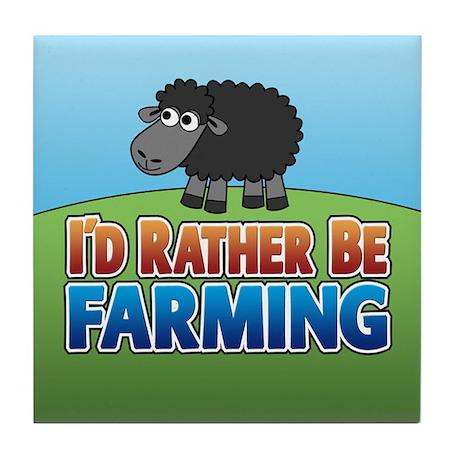 Cartoon Farmville Sheep Tile Coaster