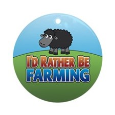 Cartoon Farmville Sheep Ornament (Round)