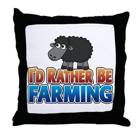Cartoon Farmville Sheep Throw Pillow