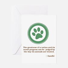 Gandhi Green Paw Greeting Card