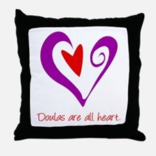 Doulas All Heart Purple Throw Pillow