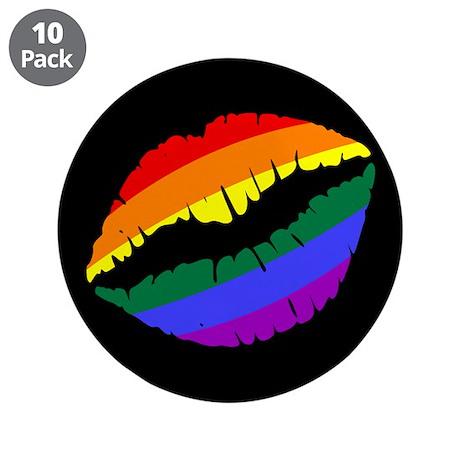 "Rainbow Kiss 3.5"" Button (10 pack)"