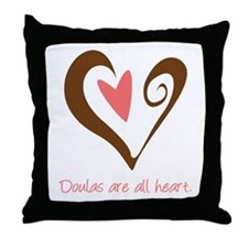 Doulas All Heart Brown Throw Pillow