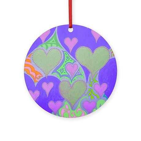 Raining Hearts Violet Ornament (Round)
