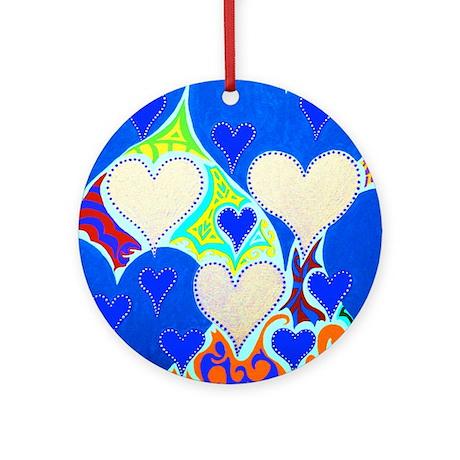 Raining Hearts Sky Blue Ornament (Round)