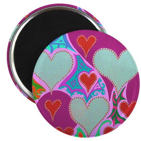 Raining Hearts Pink Magnet