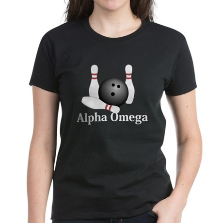 Apha Omega Logo 1 Women's Dark T-Shirt Design Fron
