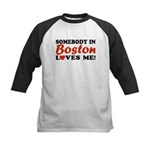 Somebody in Boston Loves Me! Kids Baseball Jersey