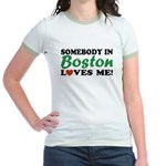 Somebody in Boston Loves Me! Jr. Ringer T-Shirt