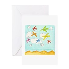 Busy Aeroplanes Greeting Card