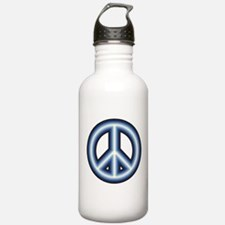 Blue Peace Symbol Water Bottle