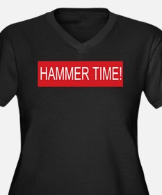 Hammer time Women's Plus Size V-Neck Dark T-Shirt