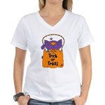 Kitty Trick or Treat Women's V-Neck T-Shirt