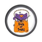 Kitty Trick or Treat Wall Clock
