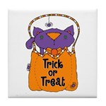 Kitty Trick or Treat Tile Coaster