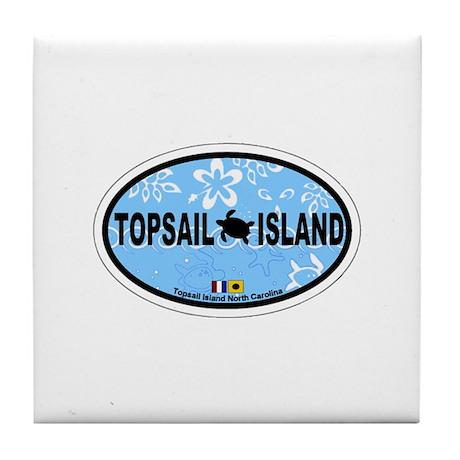Topsail Island NC - Oval Design Tile Coaster